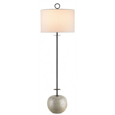 Currey & Company Atlas Wrought Iron/Concrete Console Lamp  by Currey & Company