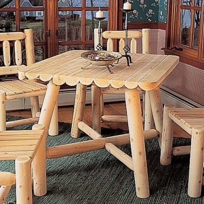 "Rustic Natural Cedar 37"" Square Dining Table  by Rustic Natural Cedar"