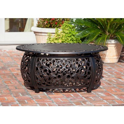 Toulon Oval Cast Aluminum LPG Fire Pit  by Frontera Furniture Company
