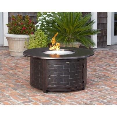 Perissa Woven Round Cast Aluminum LPG Fire Pit  by Frontera Furniture Company