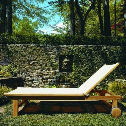 Kingsley Bate St. Tropez Teak Adjustable Chaise Lounge w/Wheels  by Kingsley Bate