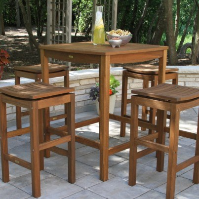 Outdoor Interiors Eucalyptus Square Bar Table  by Outdoor Interiors