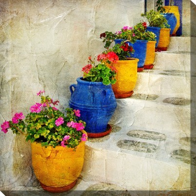 West of the Wind Outdoor Canvas Wall Art - Bright Pots  by West of the Wind