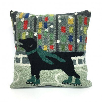 Trans-Ocean Frontporch Holiday Ice Dog Green Pillow  by TransOcean