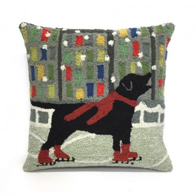 Trans-Ocean Frontporch Holiday Ice Dog Red Pillow  by TransOcean