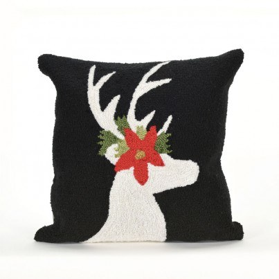 Trans-Ocean Frontporch Reindeer Black Pillow  by TransOcean