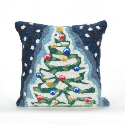 Trans-Ocean Frontporch Christmas Tree Midnight Pillow  by TransOcean