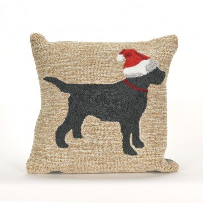 Trans-Ocean Frontporch Dogs Christmas Neutral Pillow  by TransOcean