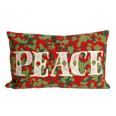 Trans-Ocean Visions ll Peace Red Rectangular Pillow  by TransOcean