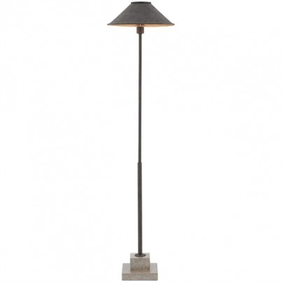 Currey & Company Fudo Wrought Iron/Concrete Floor Lamp  by Currey & Company