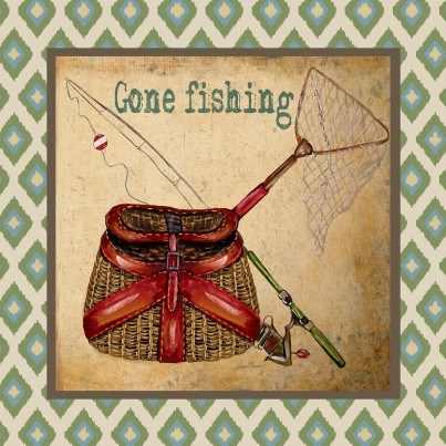 West of the Wind Outdoor Canvas Wall Art - Gone Fishing  by West of the Wind