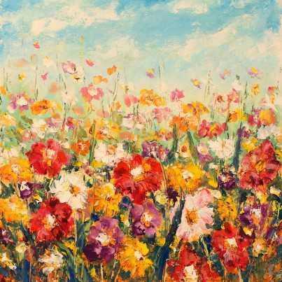 West of the Wind Outdoor Canvas Wall Art - Floral Palette  by West of the Wind