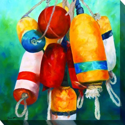 West of the Wind Outdoor Canvas Wall Art - Buoys  by West of the Wind
