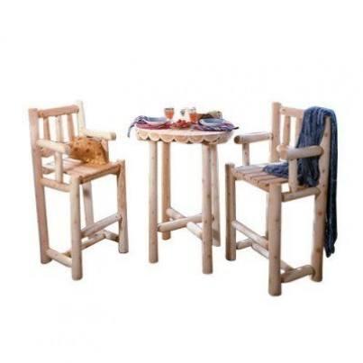 Rustic Natural Cedar Three Piece Bistro Dining Ensemble  by Rustic Natural Cedar