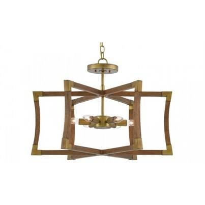 Currey & Company Bastian Wrought Iron/Wood Semi-Flush Mount  by Currey & Company