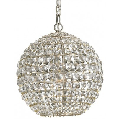 Currey & Company Roundabout Wrought Iron/Crystal Pendant  by Currey & Company