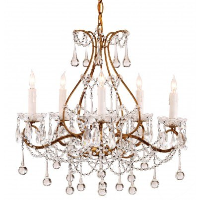 Currey & Company Paramour Wrought Iron/Crystal Chandelier  by Currey & Company