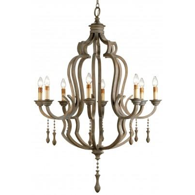 Currey & Company Waterloo Iron/Wood Chandelier  by Currey & Company