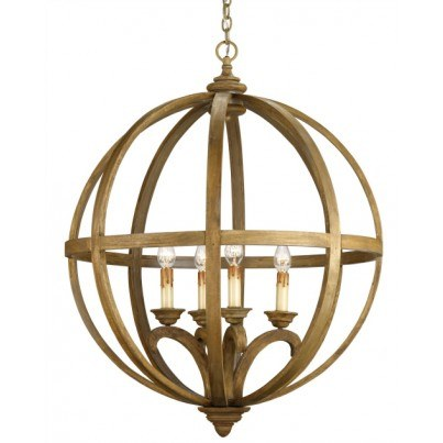 Currey & Company Axel Orb Large Iron/Wood Chandelier  by Currey & Company