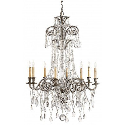 Currey & Company Lillian Wrought Iron/Crystal Chandelier  by Currey & Company