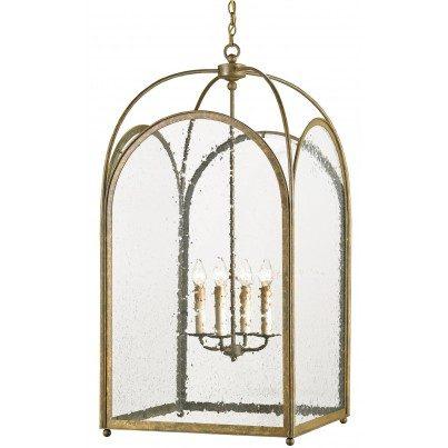 Currey & Company Loggia Iron/Glass Lantern Chandelier  by Currey & Company