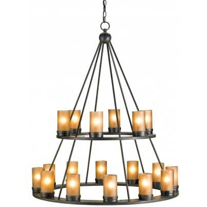 Currey & Company Darden Wrought Iron/Glass Chandelier  by Currey & Company