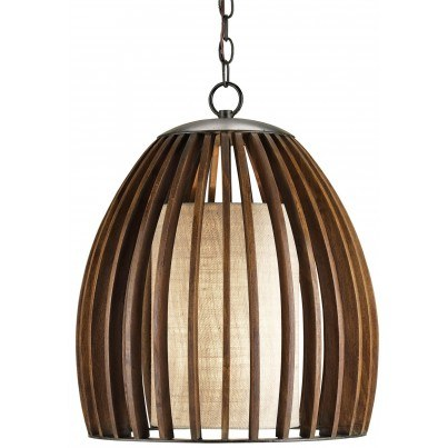 Currey & Company Carling Iron/Wood Pendant Chandelier  by Currey & Company