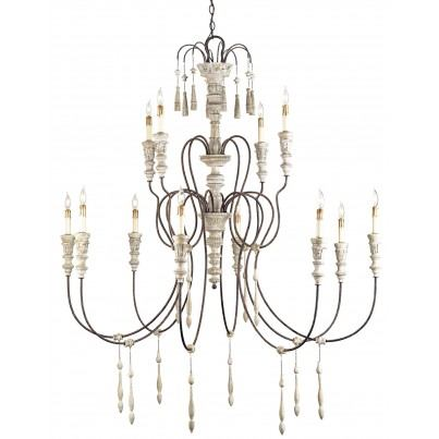 Currey & Company Large Hannah Wrought Iron/Wood Chandelier  by Currey & Company