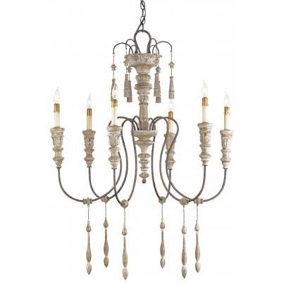 Currey & Company Small Hannah  Wrought Iron/Wood Chandelier  by Currey & Company