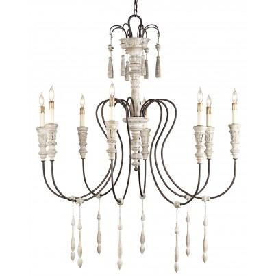 Currey & Company Medium Hannah Wrought Iron/Wood Pendant Chandelier  by Currey & Company