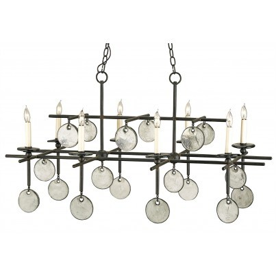 Currey & Company Sethos Rectangular Wrought Iron/Glass Chandelier  by Currey & Company