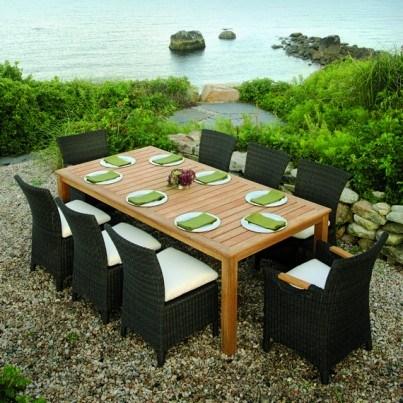 Kingsley Bate Culebra Wicker and Wainscott Teak 9 Piece Dining Ensemble  by Kingsley Bate