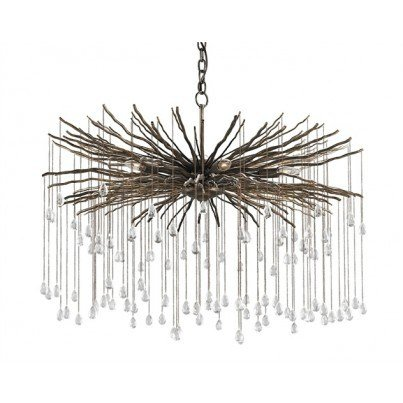 Currey & Company Fen Wrought Iron/Crystal Chandelier  by Currey & Company