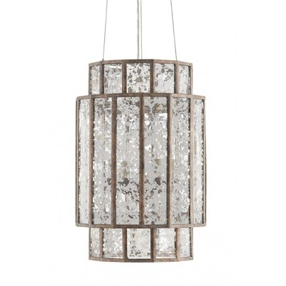 Currey & Company Fantasia Wrought Iron/Mirror Chandelier  by Currey & Company