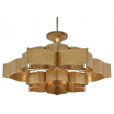 Currey & Company Grand Lotus Wrought Iron/Sheet Metal Chandelier  by Currey & Company