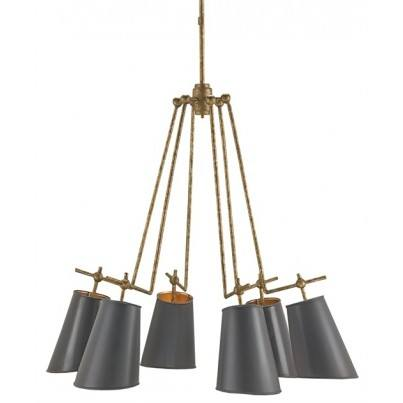 Currey & Company Jean-Louis Wrought Iron Chandelier  by Currey & Company