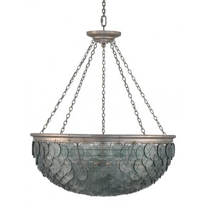 Currey & Company Quorum Wrought Iron/Recycled Glass Chandelier  by Currey & Company