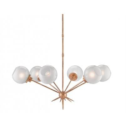 Currey & Company Shelly Wrought Iron/Glass Chandelier  by Currey & Company
