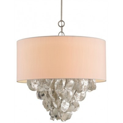 Currey & Company Capri Wrought Iron/Oyster Shell Chandelier  by Currey & Company