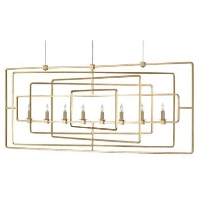 Currey & Company Metro Wrought Iron Rectangular Chandelier  by Currey & Company