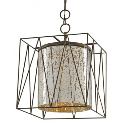 Currey & Company Marmande Wrought Iron/Antique Mercury Square Lantern  by Currey & Company