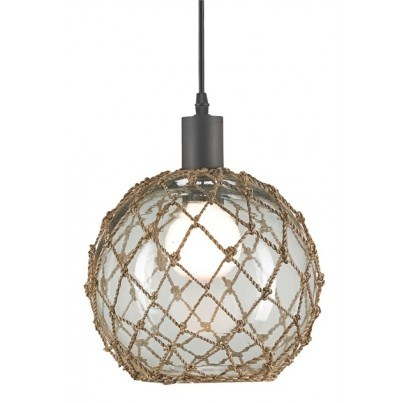 Currey & Company Fairwater Wrought Iron/Glass/Abaca Weave Pendant, Large  by Currey & Company