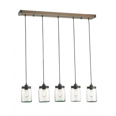 Currey & Company Firefly Wrought Iron/Wood/Glass Rectangular Chandelier  by Currey & Company