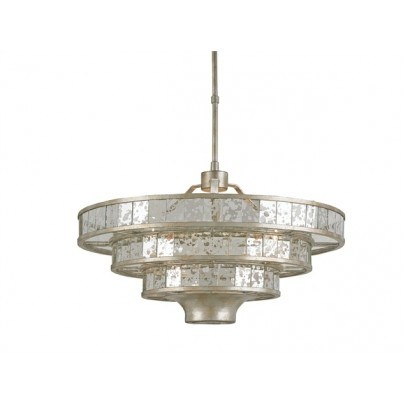 Currey & Company Frappé Wrought Iron/Glass Chandelier  by Currey & Company