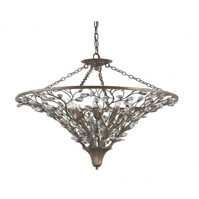 Currey & Company Giselle Wrought Iron/Crystal Chandelier  by Currey & Company