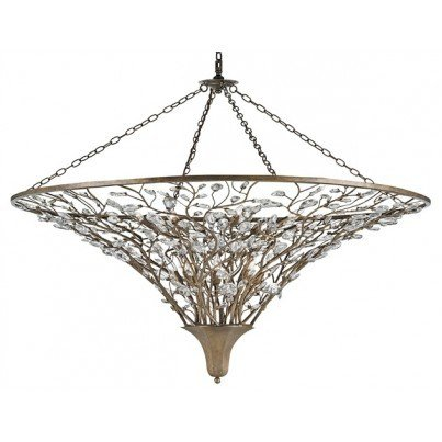 Currey & Company Giselle Wrought Iron/Crystal Chandelier, Large  by Currey & Company