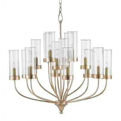 Currey & Company Hove Wrought Iron/Glass Chandelier  by Currey & Company