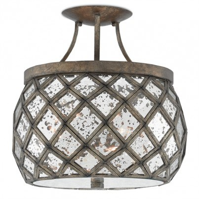 Currey & Company Buckminster Wrought Iron/Glass Semi-Flush Mount  by Currey & Company