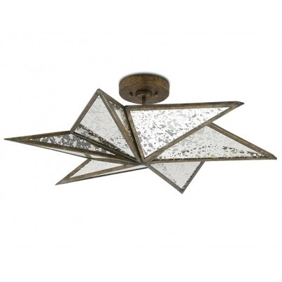 Currey & Company Stargazer Wrought Iron/Glass Semi-Flush Mount  by Currey & Company