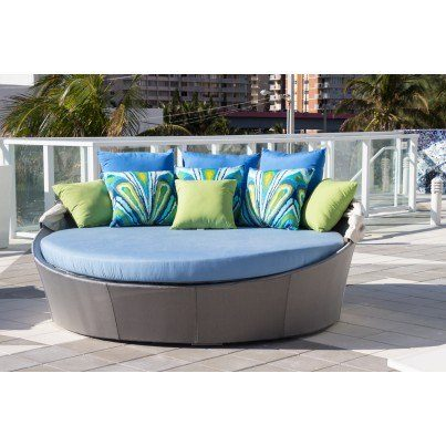 Source Outdoor Aqua Wicker Large Daybed  by Source Outdoor